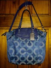 Coach Ashley Dotted OP Art North South Satchel Shoulder Bag Purse F25183 Blue