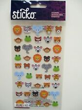 STICKO STICKERS  - Zoo Faces - animals - lion tiger elephants