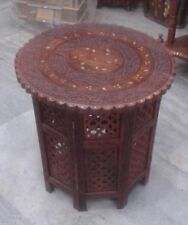 Antique Anglo Indian Rosewood Carved Brass Inlaid Table