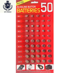 50 PCS BUTTON CELL ASSORTED BATTERIES AG1/ 3/ 4/ 10/ 12/ 13 UK LONG EXPIRY DATE
