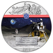 2019 1 Oz .999 Silver Liberty 50th Anniversary Lunar Module Colorised Coin