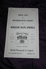 NO. 10 FALL 1929 PRICE LIST & INFORMATION CHART ON WINDSOR MAIN SPRINGS BERLIND