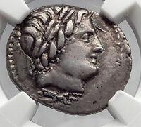 Roman Republic 86BC Sulla Time ANONYMOUS Apollo Jupiter Silver Coin NGC i60156