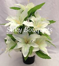 BASIC RANGE! Artificial Silk Flower Lily Grave Crem Pot All Round White Memorial