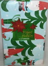 """Christmas Vinyl Tablecloth 52""""x90""""Oblong  Sants's Holding Assorted Holiday Items"""