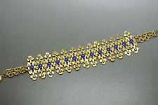 Vintage German 50s Art Deco lapis blue glasses cabochon bracelet