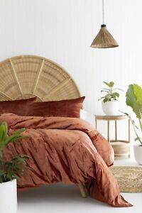 Rust Velvet Duvet Cover Velvet Bedding Boho Comforter Cover Queen Bedding Set