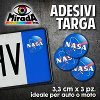 ADESIVI STICKERS BOLLINO TARGA NASA SPAZIO ASTRONAUTA FLAG AUTO MOTO PLATE CAR
