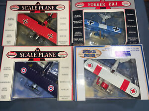 Lot of 4 Model Power 1:48 WWII Die Cast Planes Fokker Screaming Eagle British