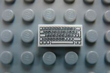 LEGO Computer Keyboard Complex Pattern 1x2 WHITE TILE