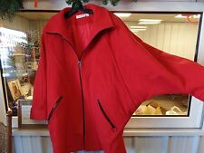 Vintage Fairbrooke 1980s Style 100% Wool Red Batwing Jacket Womens Size 12