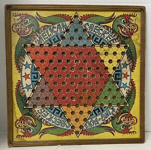 Vintage 1938 Straits MFG Co King Foo Chinese American Checkers Wooden Board Game