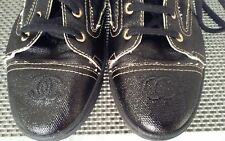 AUTHENTIC CHANEL 2016  MILITARY COMBAT BOOTS FLATS BLACK CC LOGO  LACE UP 40