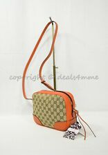 NWT Gucci Bree Shoulder / Crossbody Bag in GG Canvas and Orange Leather Trim