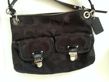 Coach Poppy Signature Sateen Hippie Shoulder Bag Black 18982 w/ Hang Tags