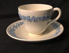 VINTAGE WEDGWOOD QUEENSWARE DEMITASSE TEA CUP & SAUCER, Blue on Cream