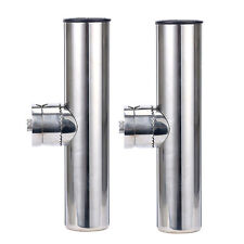 """2 PCS Stainless Clamp on Fishing Rod Holder for Rails 1"""" to 1-1/4"""""""
