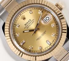 Rolex Datejust II 41mm Oyster 116333 18k TT/SS Champagne Baguette Diamond Dial