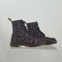 Dr. Martens Women's PAGE Black Floral Textile Canvas Lace Up Boots size US 8