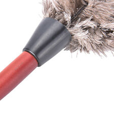38cm Ostrich Feather Duster Brush Wood Handle Anti-static Natural Grey Fur ab