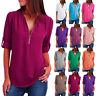 UK Women Long Sleeve Summer Zip Blouse Shirt Chiffon Ladies Tee Loose Plain Tops