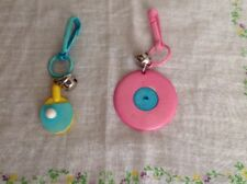 Vintage Plastic 80's Clip On Bell Charm Pink Record Ping Pong Paddle