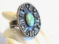 BIG BOLD VINTAGE NATIVE AMERICAN TURQUOISE 925 STERLING SILVER OVAL FRAME RING