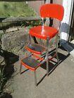 Vintage Cosco Red Chrome Step Stool Chair 1950s Retro