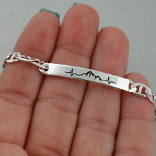 Mountain Range Heartbeat ID Bracelet 925 Sterling Silver Flat Marina Link Chain