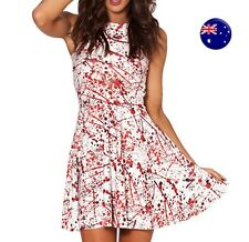 Women Halloween Party Horror Blood Bloody Splatter Skate White Costume Dress