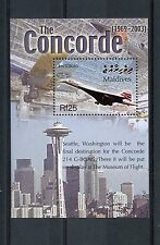 Maldives 2004 MNH Concorde Final Flight G-BOAG 1v S/S Planes Space Needle Stamps