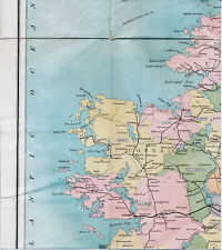 Ireland Connaught Galway 1903 orig. part railway map/cloth Sligo Mayo Connemara