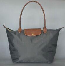 Womens New Longchamp Le Pliage Nylon Grey Tote Handbag Bag Size Large