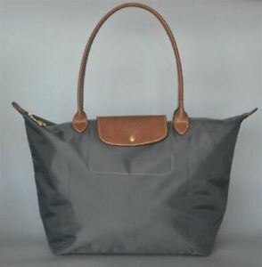 Womens New Longchamp Le Pliage Nylon Grey Tote Handbag Bag Size Large