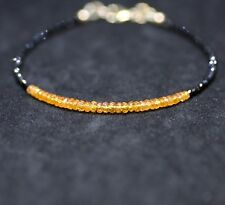 Natural Mandarin Garnet Black Spinel Bracelet 14K Gold Filled January Birthstone
