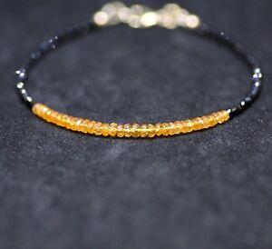 Natural Mandarin Garnet Black Spinel Bracelet 14K Gold Filled January Birthstone