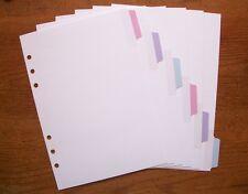 A5 Size BLANK Planner DIVIDERS - 'Pastel' #781 - Fits Filofax / Kikki K
