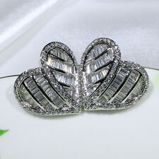 18K White Gold Filled Clear CZ Women Fashion Jewelry Heart Stud Earrings E2441