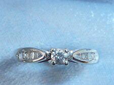 10K White Gold  Ring, 2.85mm Diamond, 12 Baguette Diamonds, size 5