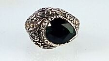 New Sterling silver & 18k yellow gold ring with floral patterned & Green Quartz