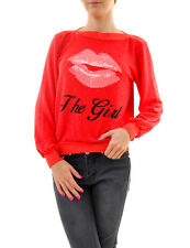 Wildfox Women's Kiss Her Oversized Brunch Jumper Ariel Red Size S RRP £91 BCF68