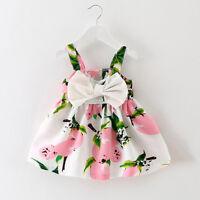 Toddler Baby Girl  Lemon Printed Infant Outfit Sleeveless Princess Gallus Dress