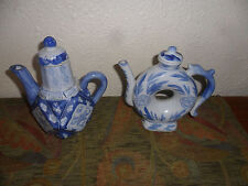 WHITE & BLUE**PORCELAIN**TEA POTS**MADE IN CHINA**EXCELLENT CONDITION