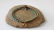 Handmade Brass Turquoise Bead Added Fish Charm Bracelet