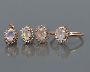 14K Rose Gold Rainbow Moonstone Natural Gems Ring Earring Pendant Jewelry Set