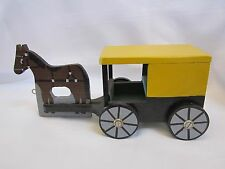 Amish Crafted Hand Painted Wooden Horse Buggy Covered Wagon Single Horse Power