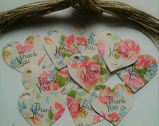 25 Vintage Style Pink Roses Heart Tags 'Thank You' Great For Wedding Favours