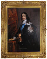 "Old Master Art Oil Painting Portrait of Man King Charles Unframed 24""x30"""