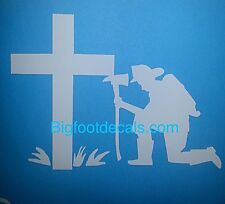 Fire Fighter Decal Praying Remembrance American Hero Fireman Car Window Sticker