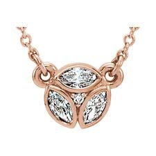 3 Piedras Marquesita Diamante 40,6 -45 , 7cm Collar en 14k oro rosa ( 1/4 Ct. TW